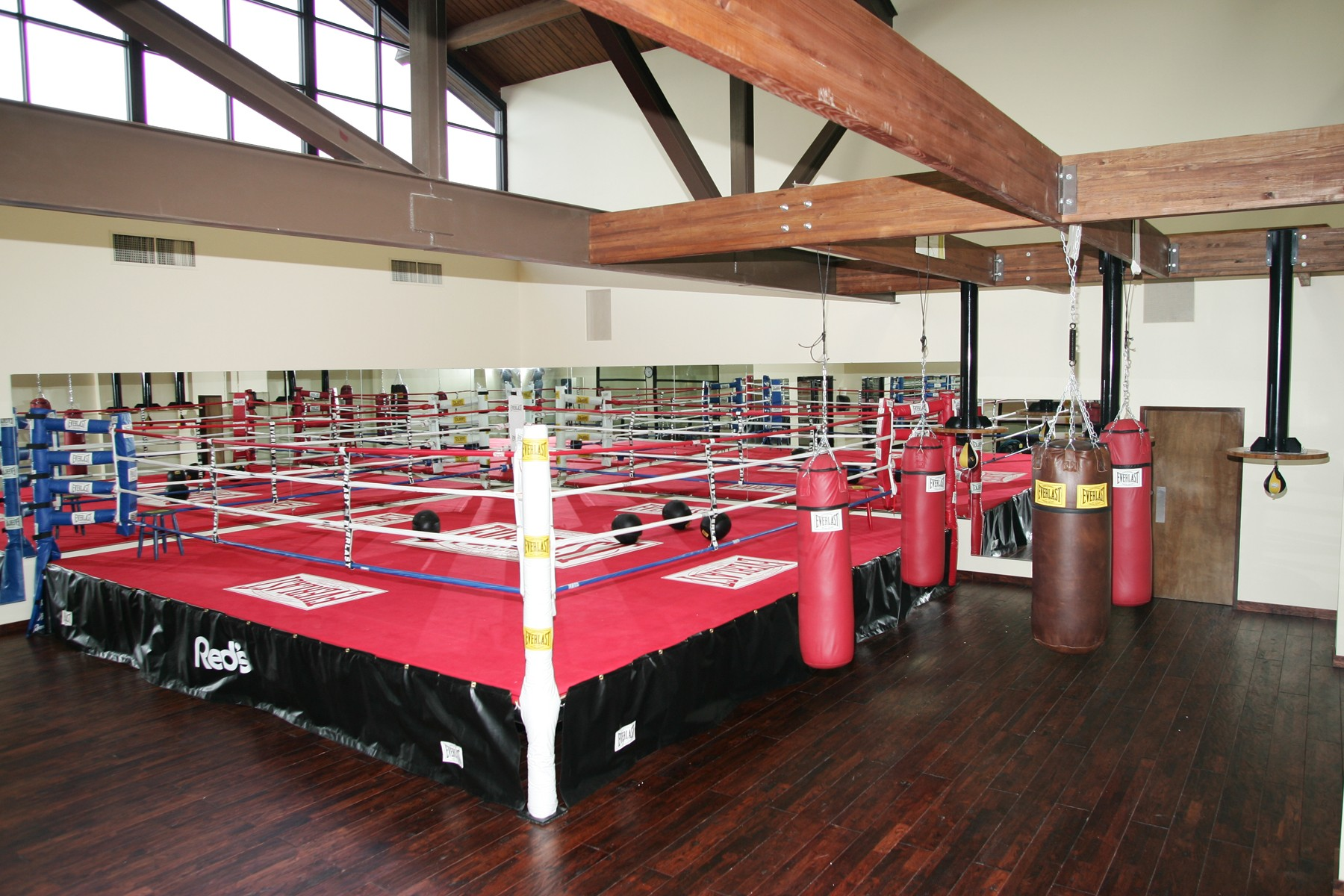 Boxing ring in gym in Red's Health Club in Lafayette, La