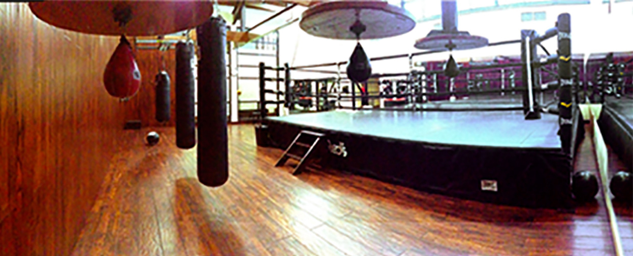 Boxing ring in well equipped gym at Red's in Lafayette, LA.