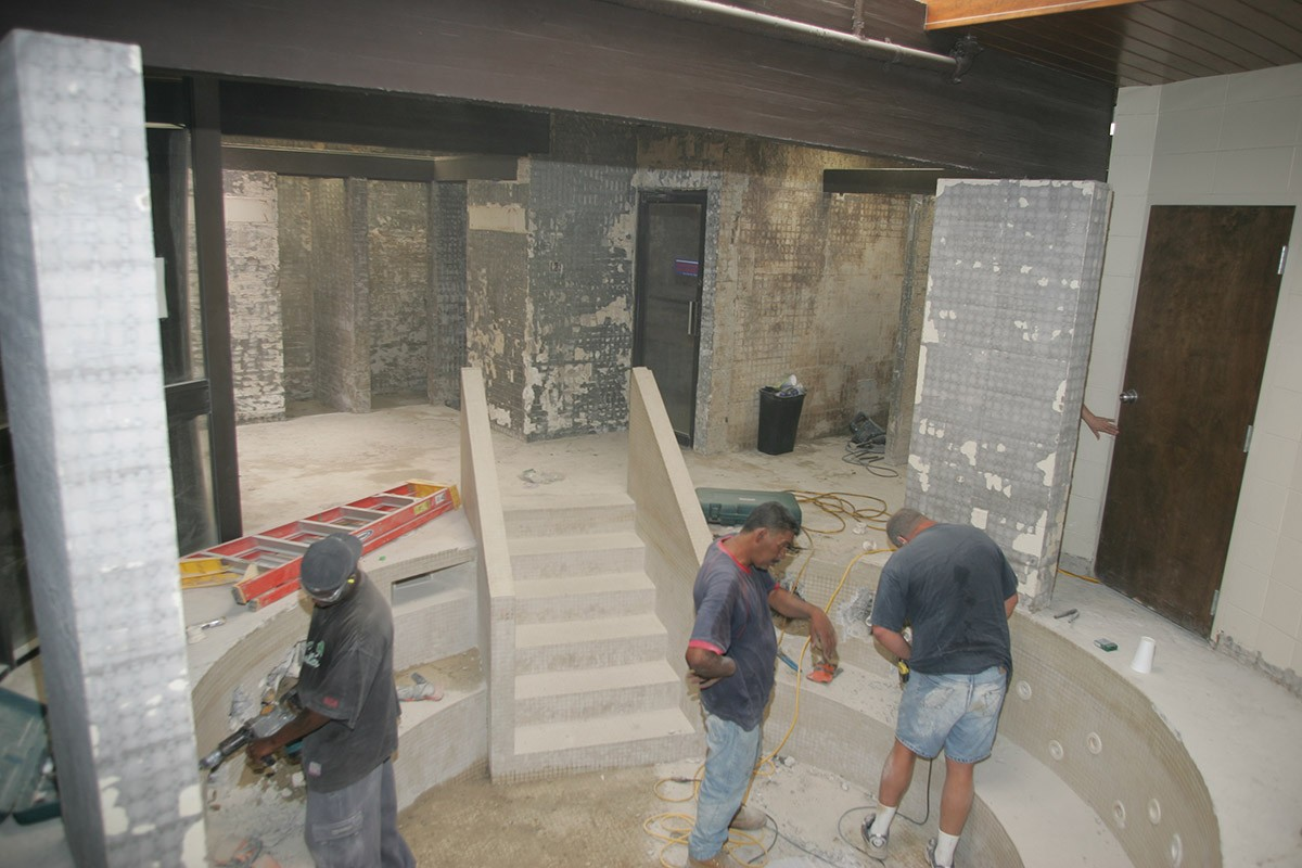 Construction of ladies locker room at Red's in Lafayette, LA.