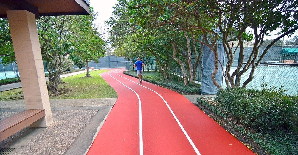 Outdoor jogging track at Red's at Lafayette, La