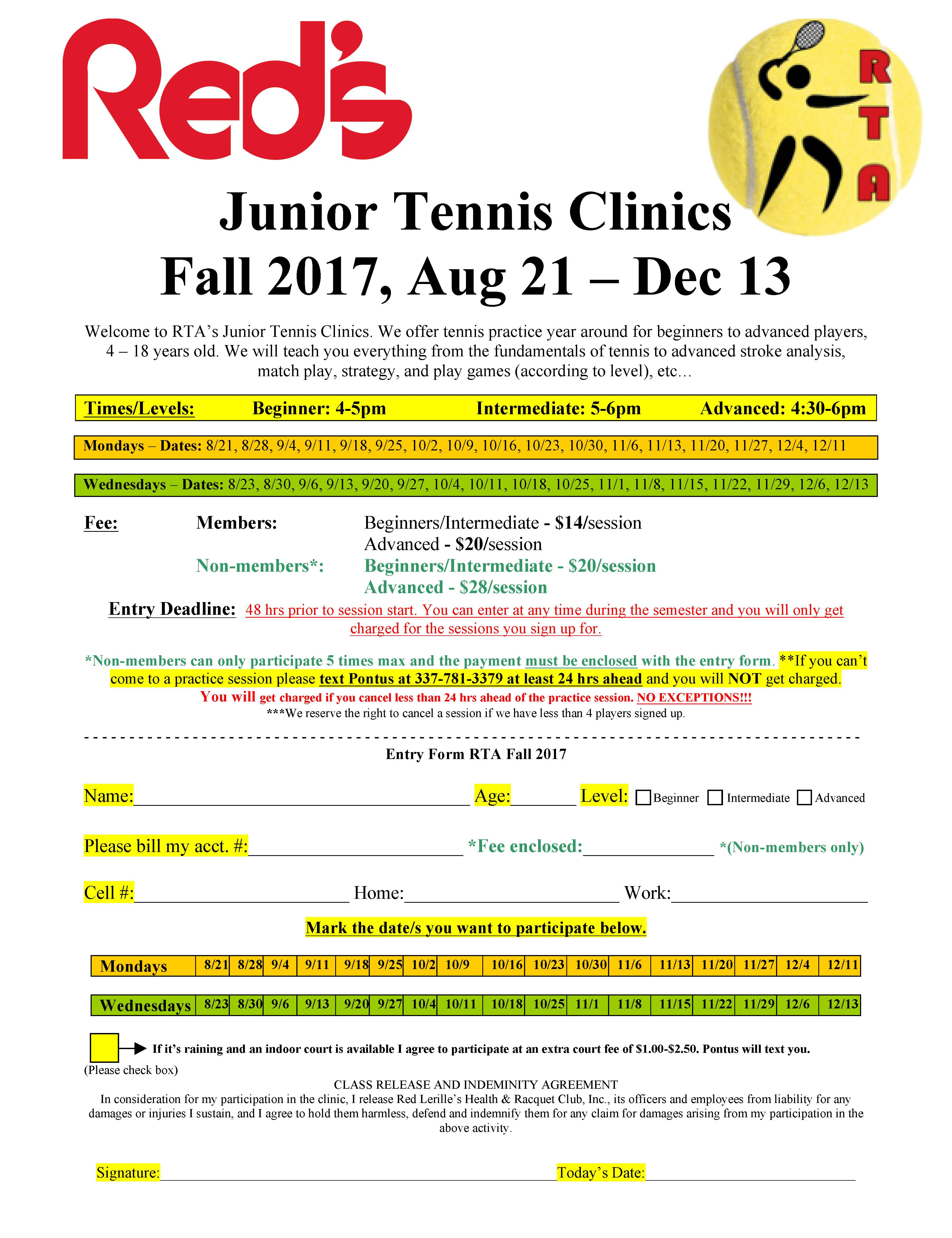RTA Junior Tennis Clinics at Red's in Fall 2017>