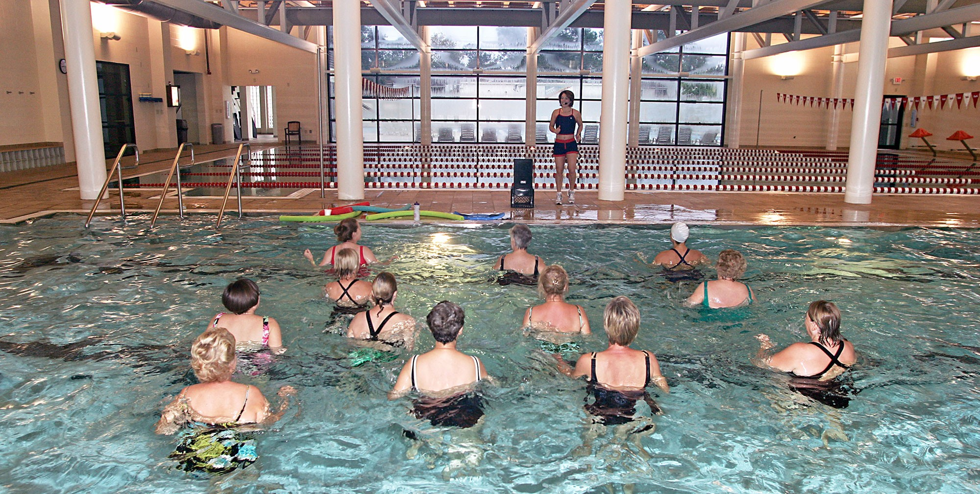 The wave, water aerobic, class in the indoor pool at Red Lerille's in Lafayette, LA