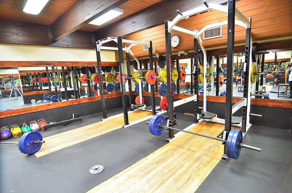 Power Lifting Fitness Gym with squat racks at Red's in Lafayette, LA.