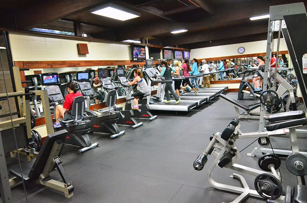 Cardio equipment in ladies only fitness workout gym at Red's in Lafayette, LA.