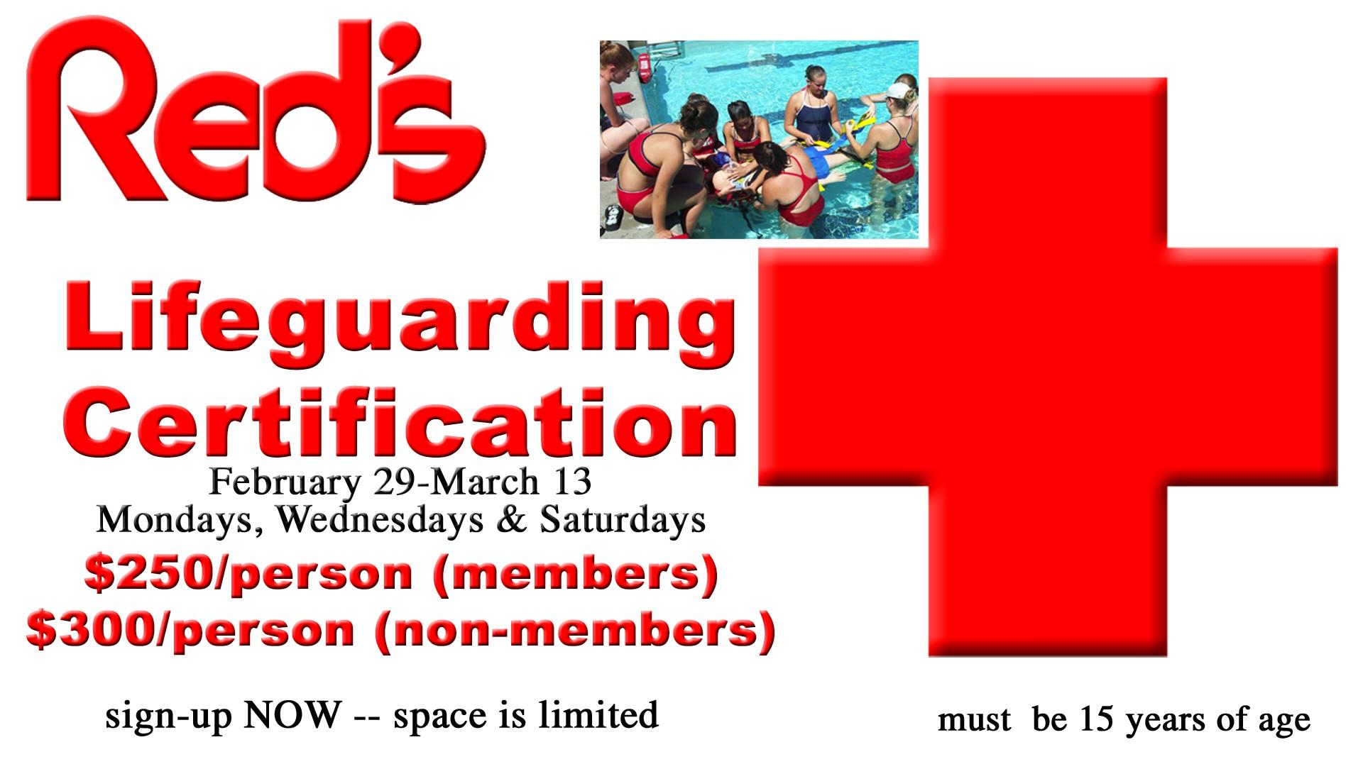 2016 Lifeguarding Certification Class Red Lerilles