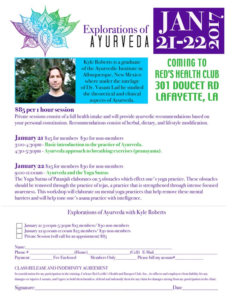 Ayurveda Yoga Workshop at Red's in Lafayette, LA