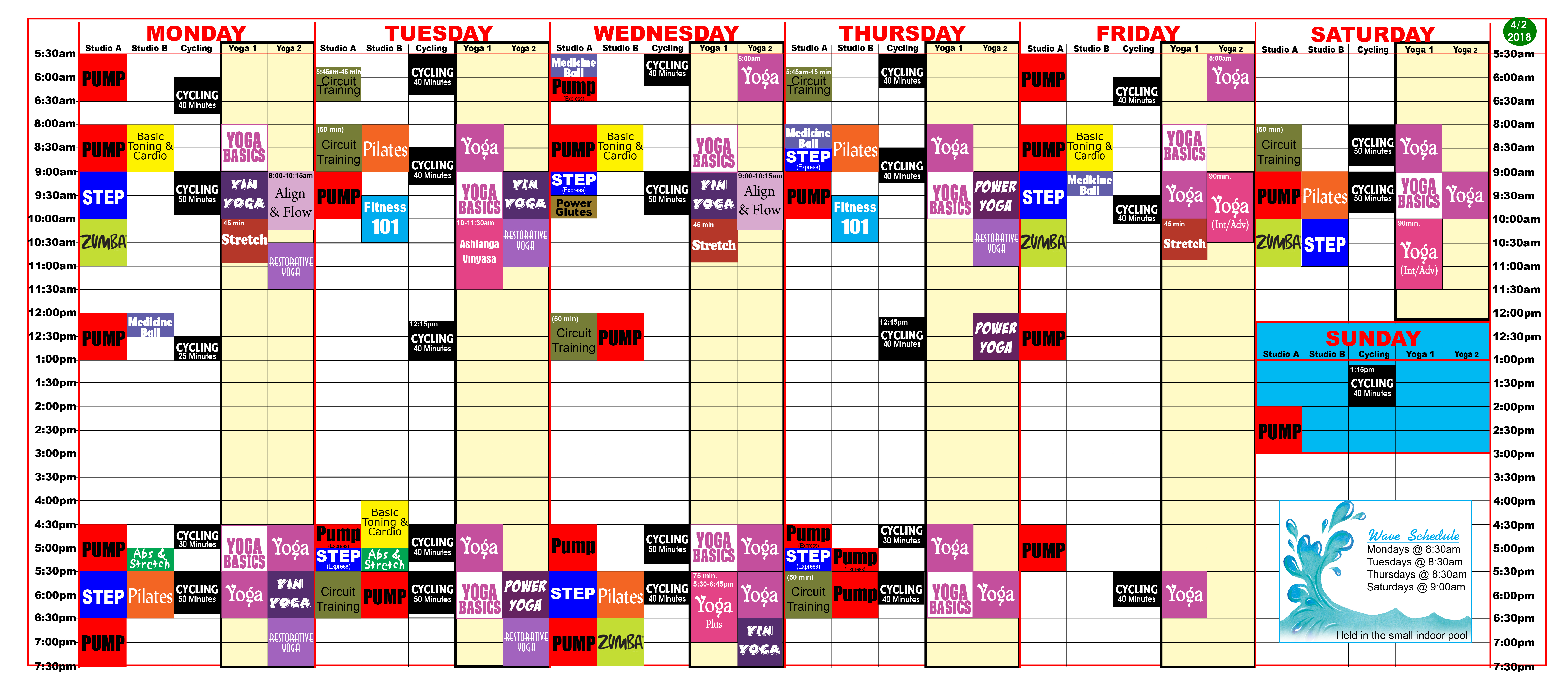 Group fitness class schedule at Red's.