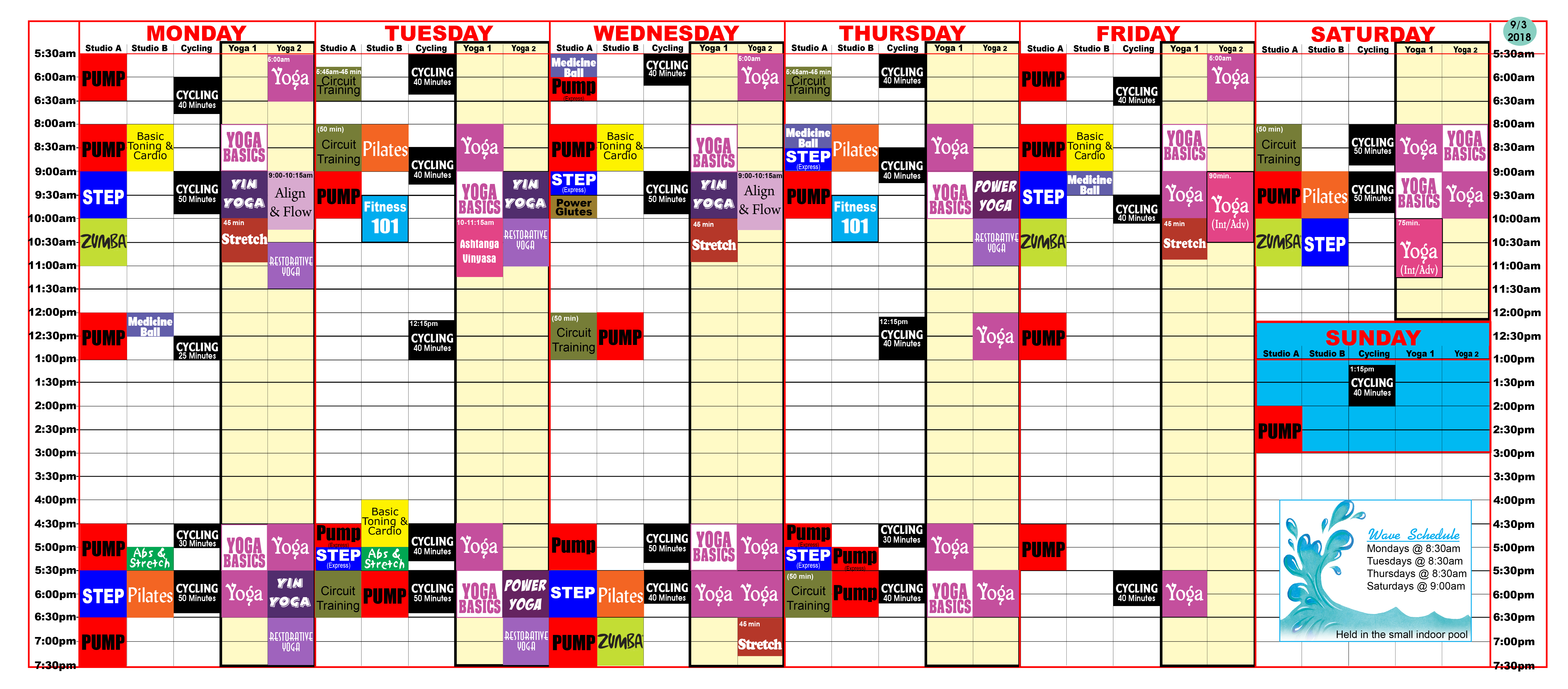 Group Fitness schedule at Red Lerille's.