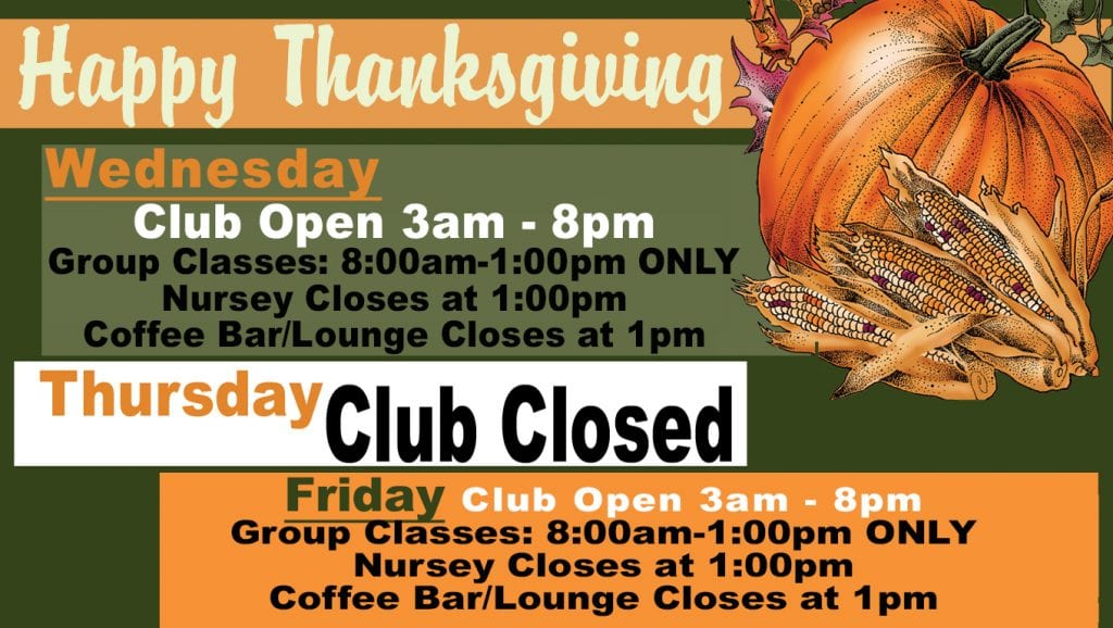 Thanksgiving 2018 schedule at Red's