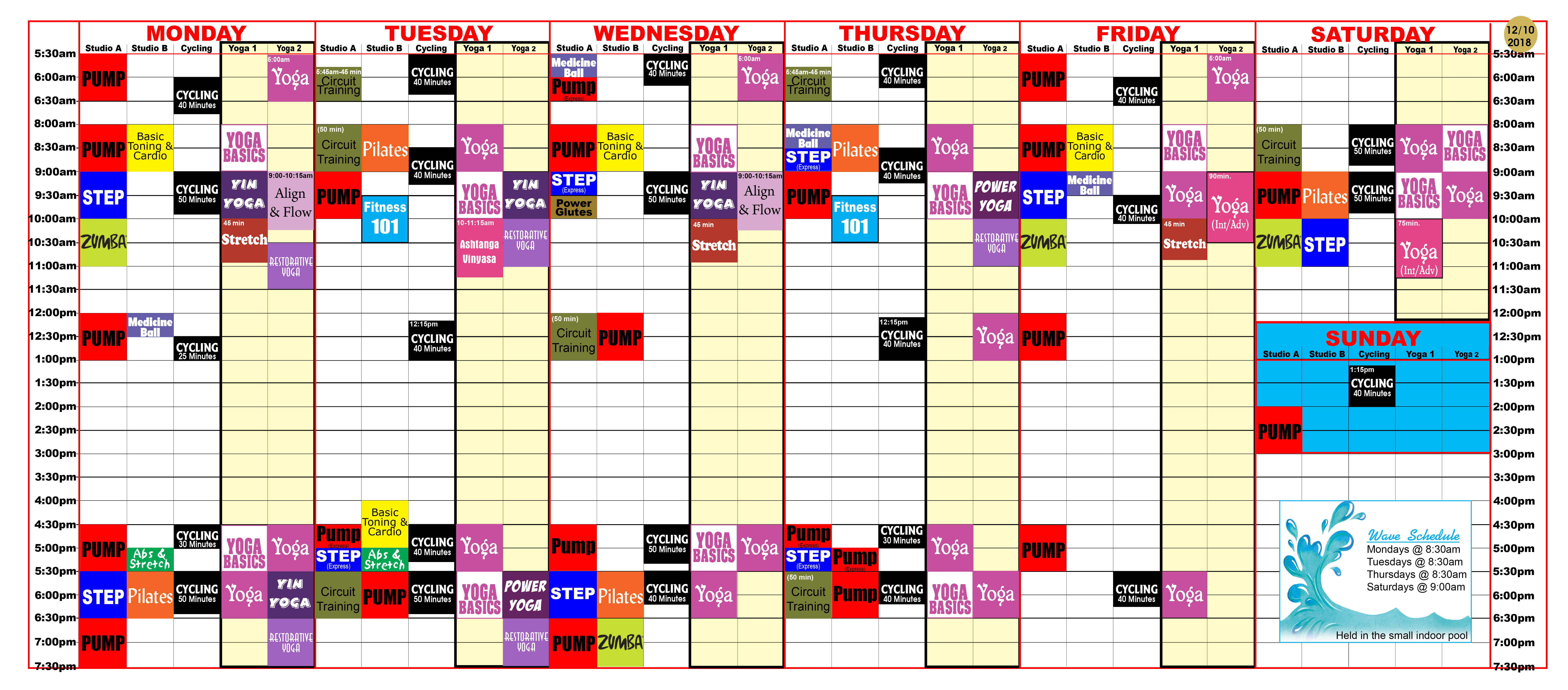 Group Fitness class schedule at Red's