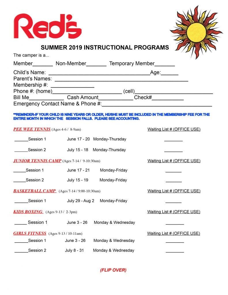 2019 Summer Program Registration form.