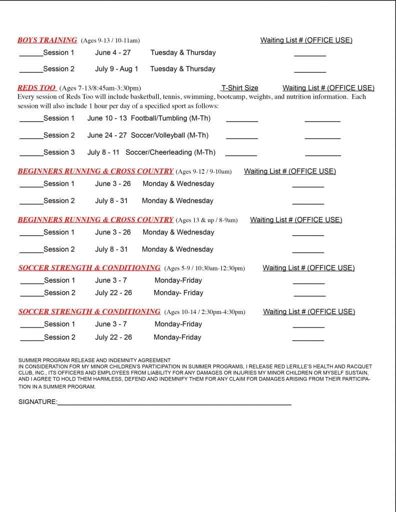 2019 Summer Program Registration for at Red's