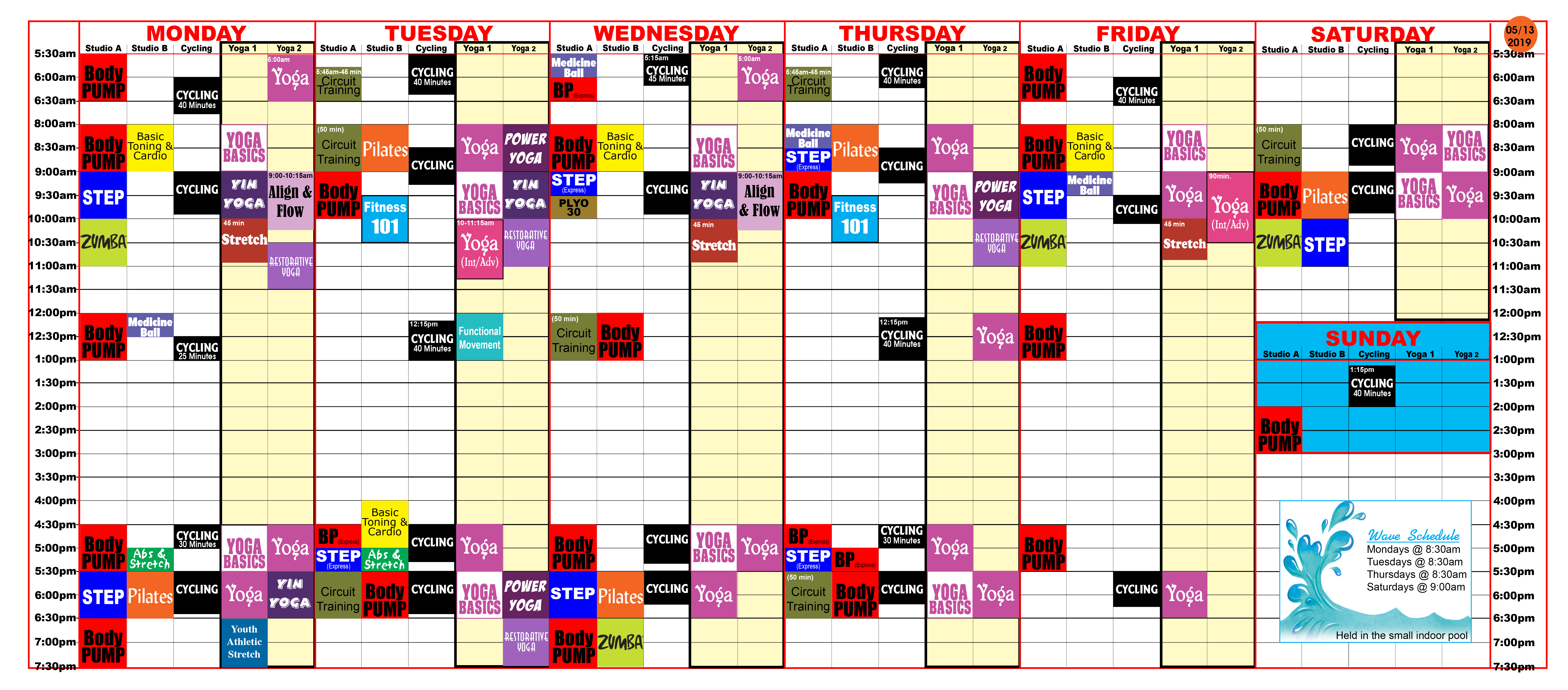 Group Fitness schedule at Red's 0513/19.