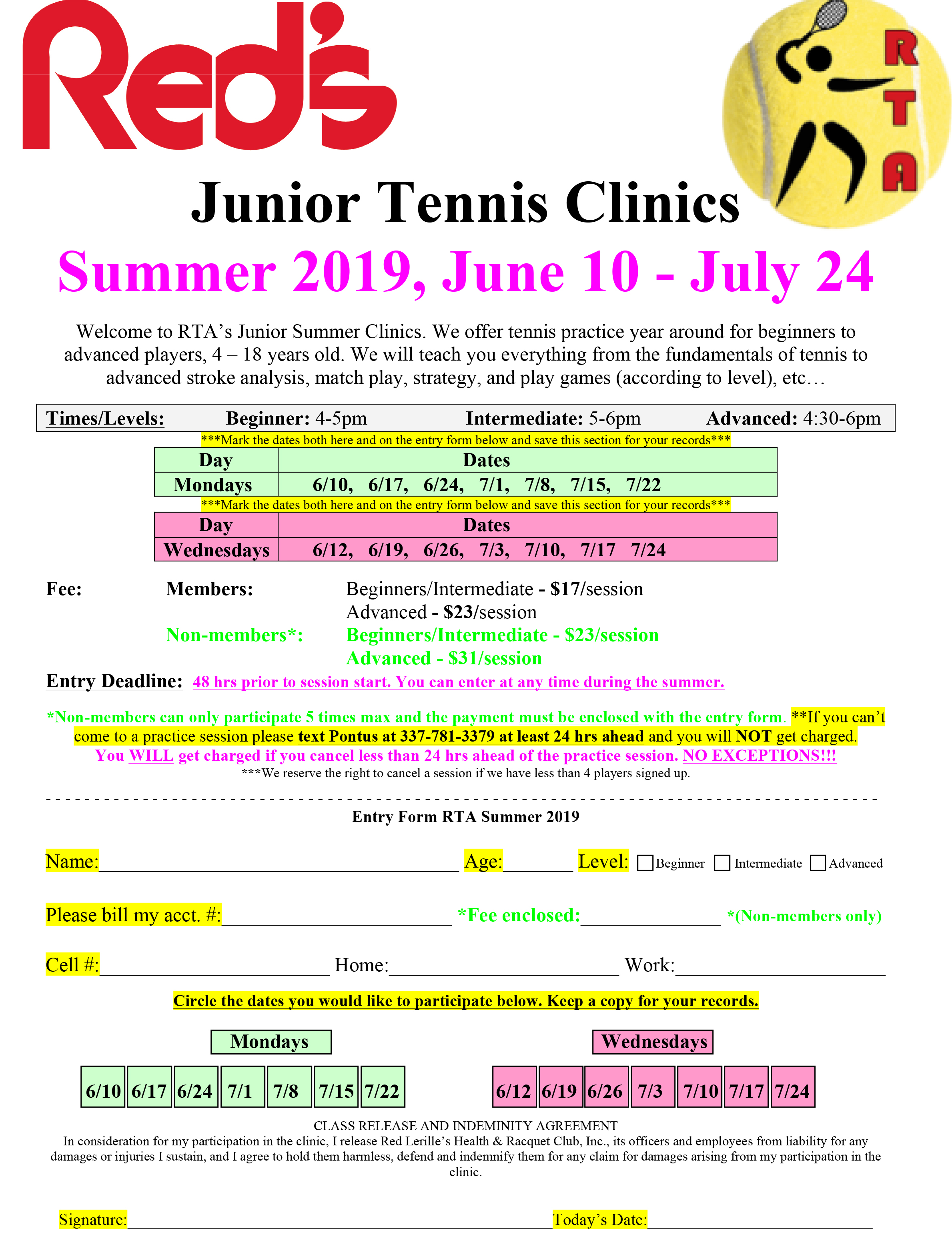 Registration Form for RTA summer 2019 at Red's.