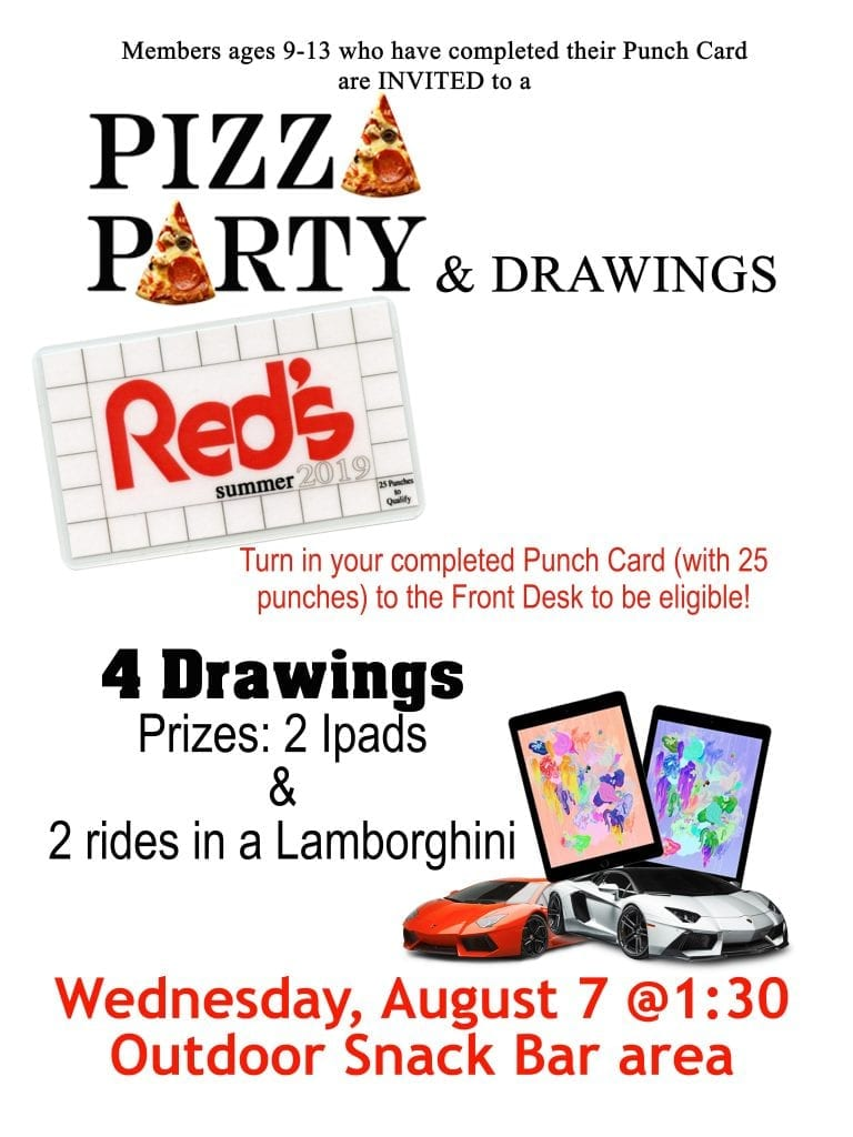 Pizza Party & Drawings for 9-13 yr olds at Red's.