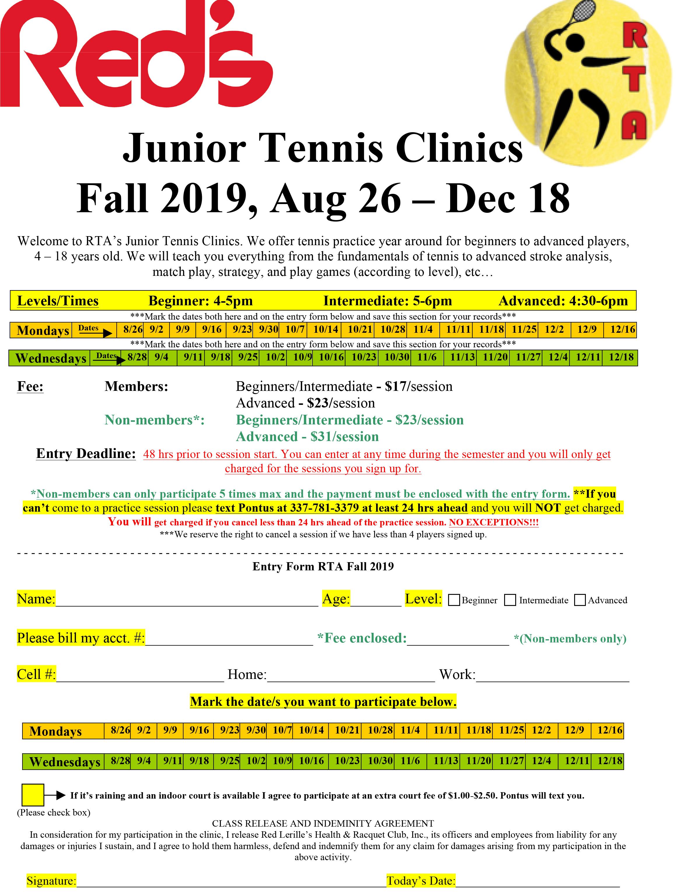 Red's Junior Tennis Clinics Fall 2019