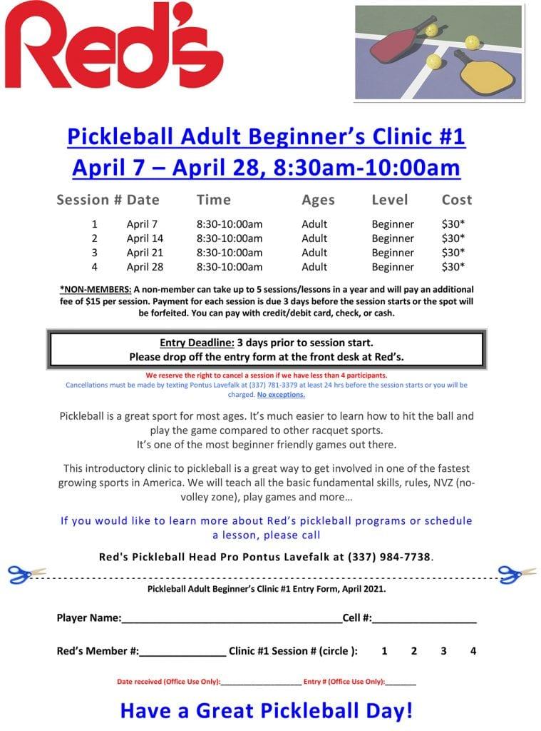 Pickleball Clinics April 2021