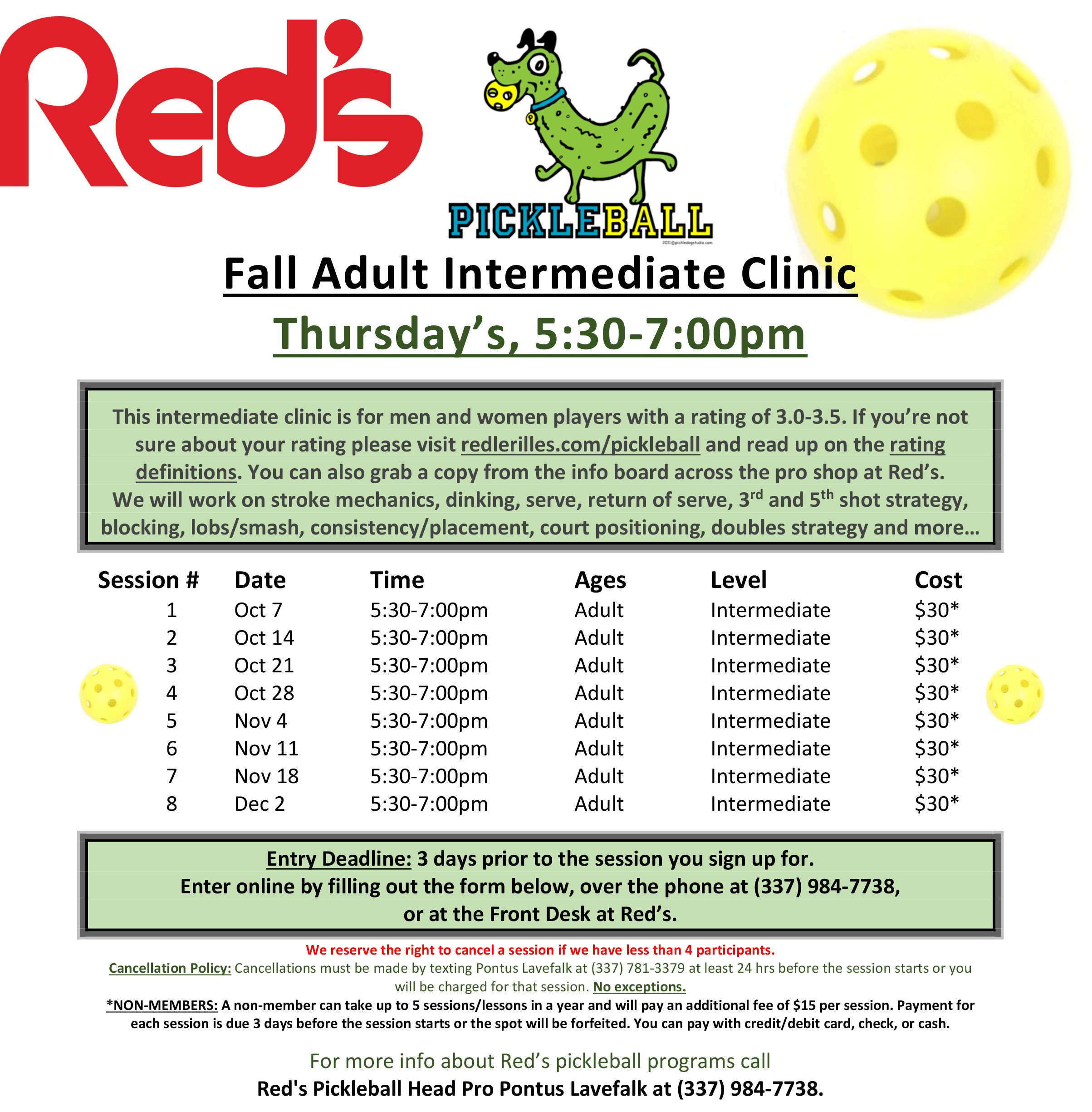 pickle ball fall clinic schedule